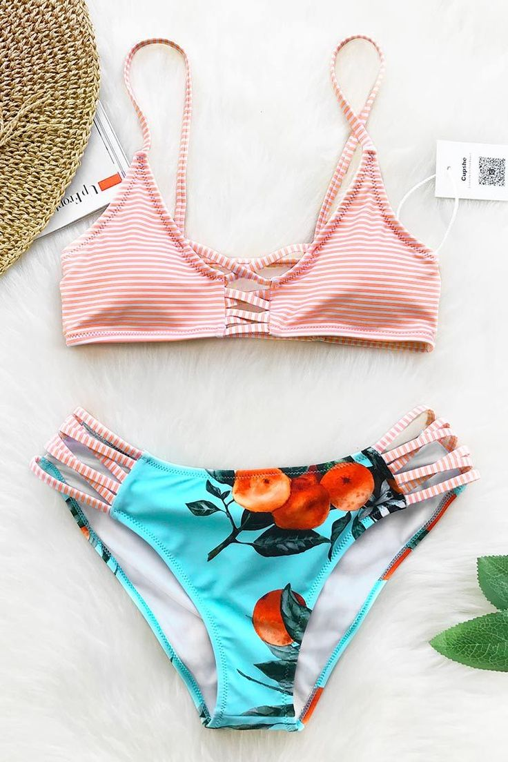 Cupshe Orange Soda Print Bikini Set