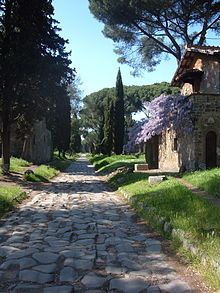 """Appian Way - Ancient Roman road, once known as """"Regina Viarum"""" the queen of all roads.  The first direct route between southeast Italy and Rome. ITALY."""