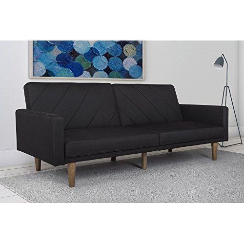 Futon Couch Mid Century Convertible Retro Style Furniture Solid Wood Legs Black #DHP