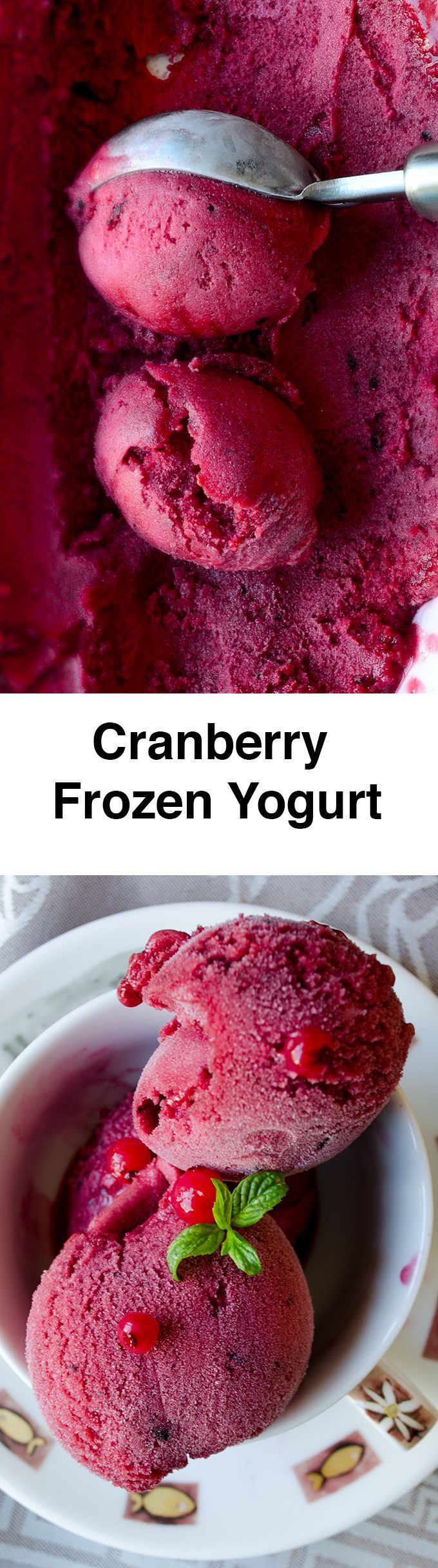 Cranberry Frozen Yogurt is the healthy alternative to ice cream. Beat the heat with this wonderfully refreshing and healthy dessert! Use any berry you like.