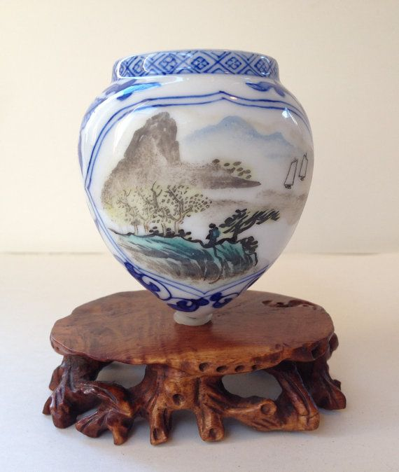 Chinese Vintage Porcelain  Large Birdfeeder  by BluePearEmporium