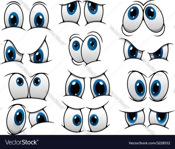 Vector image of Funny cartoon eyes set Vector Image, includes comic, happy, black, white & face. Illustrator (.ai), EPS, PDF and JPG image formats.