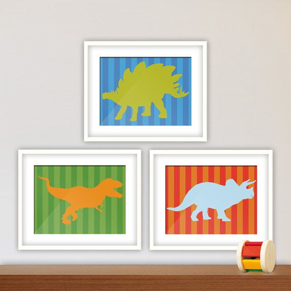 Dinosaurs Theme Wall Art, Bedroom Decor, Nursery Decor. Baby Boy, Young Boy, Printed Set of Three with Stripes Background on Etsy, $35.00