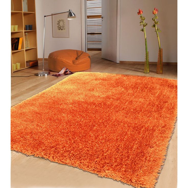 Modern Shaggy Rug Runner Featuring a Vibrant Color of Rust
