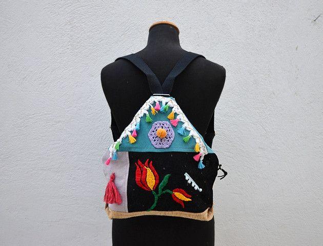 Rucksäcke - Folklore Eco Patchwork Backpack. Boho Style. - ein Designerstück von Loutik bei DaWanda
