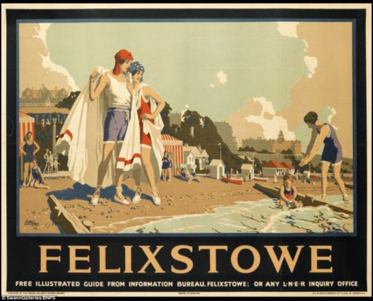 In addition to British seaside resorts such as Felixstowe, the collection includes posters for destinations in France, India and Australia