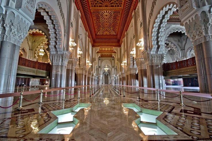 The interior of the beautiful hassan ii mosque in - Marocco casablanca ...