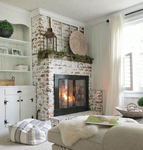 Fire Place Decorating Ideas | Brick fireplace, Living room ...