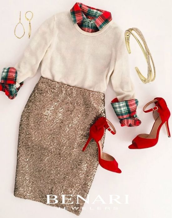 Outfit: White sweater with plaid layer underneath, gold sequin pencil skirt and red strappy peep toe heels.  Complete your holiday outfit with dainty, yellow gold earrings and a bracelet from Luvente available at BENARI JEWELERS.