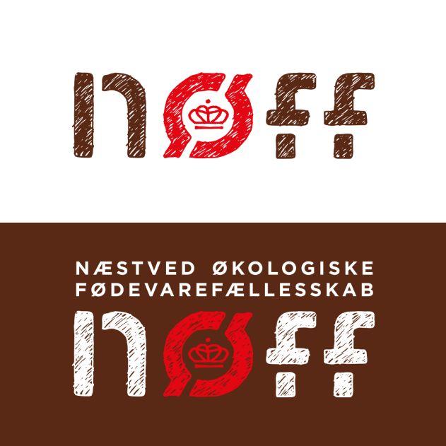 Nøffs logotype er tegnet med udgangspunkt i mærket for økologi. Det er håndskraveret for at fremhæve det personlige engagement, der karakteriserer NØFF.