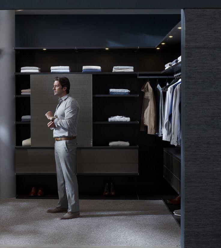 Beautiful Walk-In Closet Designs For Inspiration : Stylish Navy Blue Wall Men WalkIn Closet Design Inspiration with Grey Carpet and Black Ce...