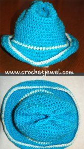 Crochet Baby Cowboy Hat - My granddaughter LOVES Sheriff Callie on the Disney channel, so I have to make this!  Free pattern @ allfreecrochet.com