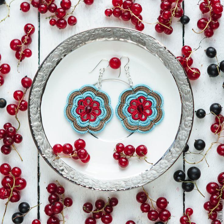 """Купить Серьги """"Цветики"""" - разноцветный, бирюзовый, голубой, красный, коричневый, фриволите, серьги, кружевные серьги"""