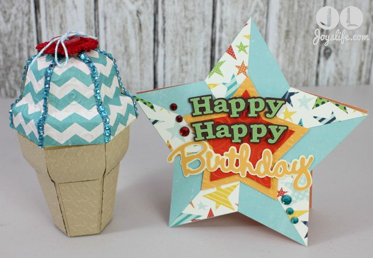 Here's an awesome party favor idea!  Ice Cream Cone Gift Box by Joy's Life.  Imagine how excited the kids will be to receive these boxes!  For a bright, bold cardstock we suggest Pebble Inc's Seen and Noted collection found at www.cardstockshop.com.
