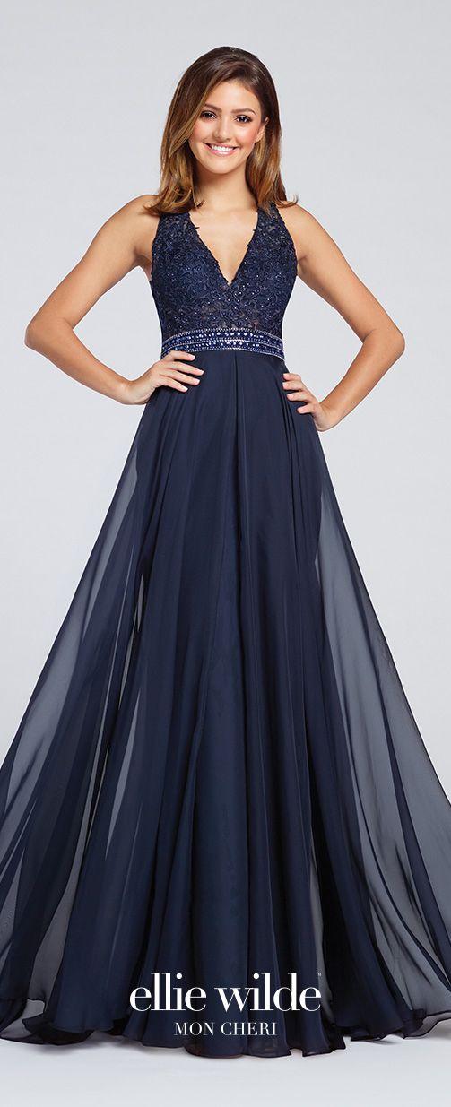 Prom Dresses 2017 - Ellie Wilde for Mon Cheri -  midnight blue sleevless chiffon halter prom dress - Style No. EW117083