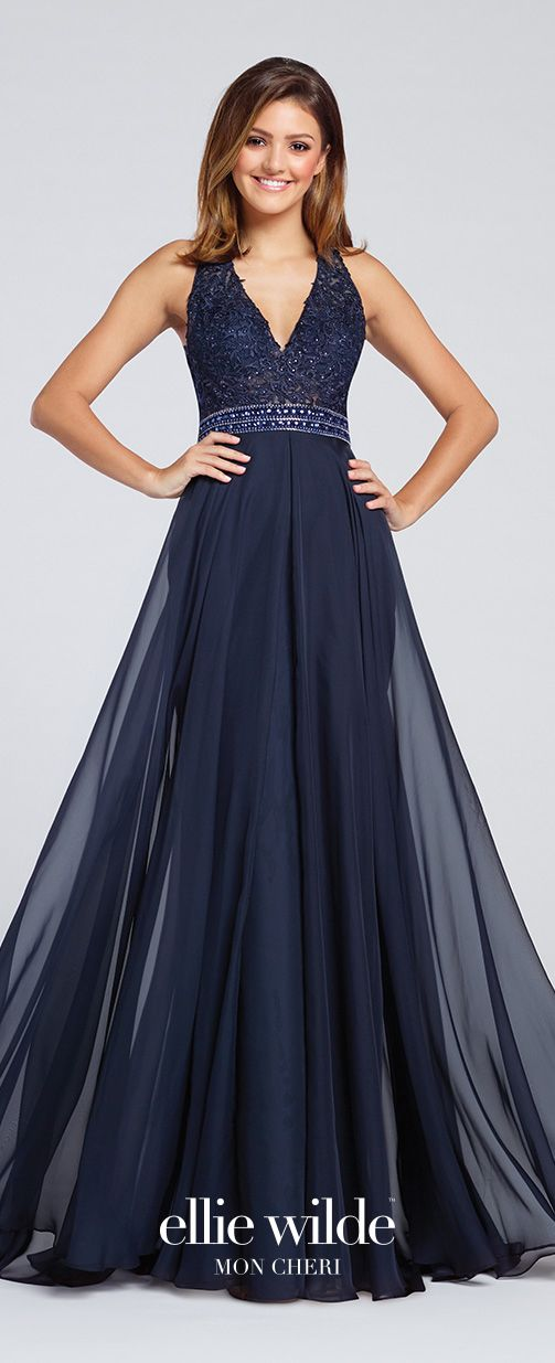Prom Dresses 2017 - Ellie Wilde for Mon Cheri - midnight blue sleevless chiffon halter prom dress - Style No. EW117083