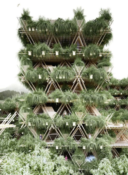 Based in Vienna and Beijing, architectural firm Penda's latest installation called Rising Canes explores the possibility of finding a solution to minimize the congestion in urban landscapes. Built from large bamboo structures, the project is an environmentally friendly and sustainable effort to eliminate the concept of the concrete jungle. Their main motive is to create a social organic impact.
