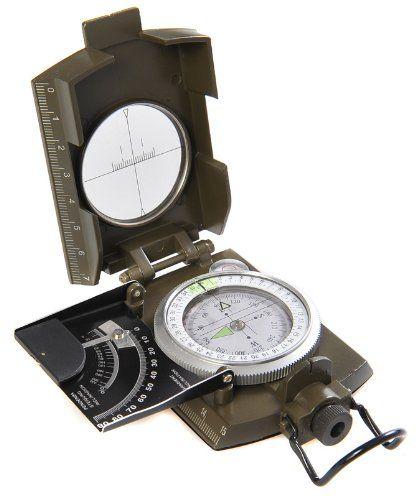 Huntington MG-XL: Brújula Militar Lensatic de primera calidad y con carcasa metálica de tamaño XL - Novedad: inclinómetro en grados y porcentaje, profesionalmente líquido-humedecida, verde militar, (K4074 DE)  #MilitarLensatic