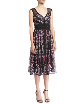 Michelle Floral-Embroidered Studded Cocktail Dress by Nanette Lepore at Neiman Marcus.