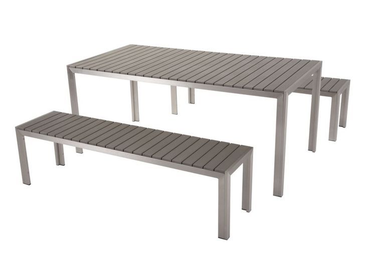 Beliani Modern Outdoor Dining Set   Table And Benches Poly Wood   NARDO Grey
