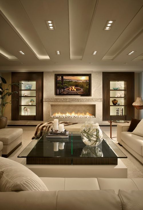 Interior .. Gorgeous living with large fireplace