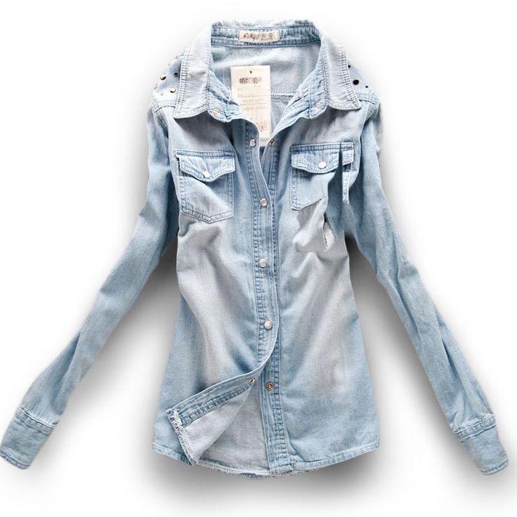 es.aliexpress.com store product 2014-Hote-Selling-New-Fashion-Medium-Long-Denim-Shirt-For-Women-Casual-Denim-Shirt-Collar-Shirts 521095_852440457.html