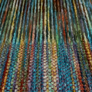 Weaving scarf - rayon chenille warp with tencel weft on a rigid heddle loom.