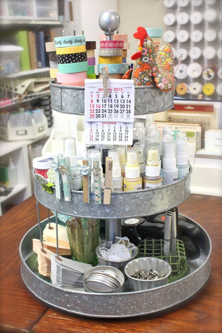 Mish Mash: Project Life Organization....My Work Space + Favorite Products....my 3 tiered stand from Pottery Barn. - there's a tutorial on making one of these for little or nothing - worth a try :)