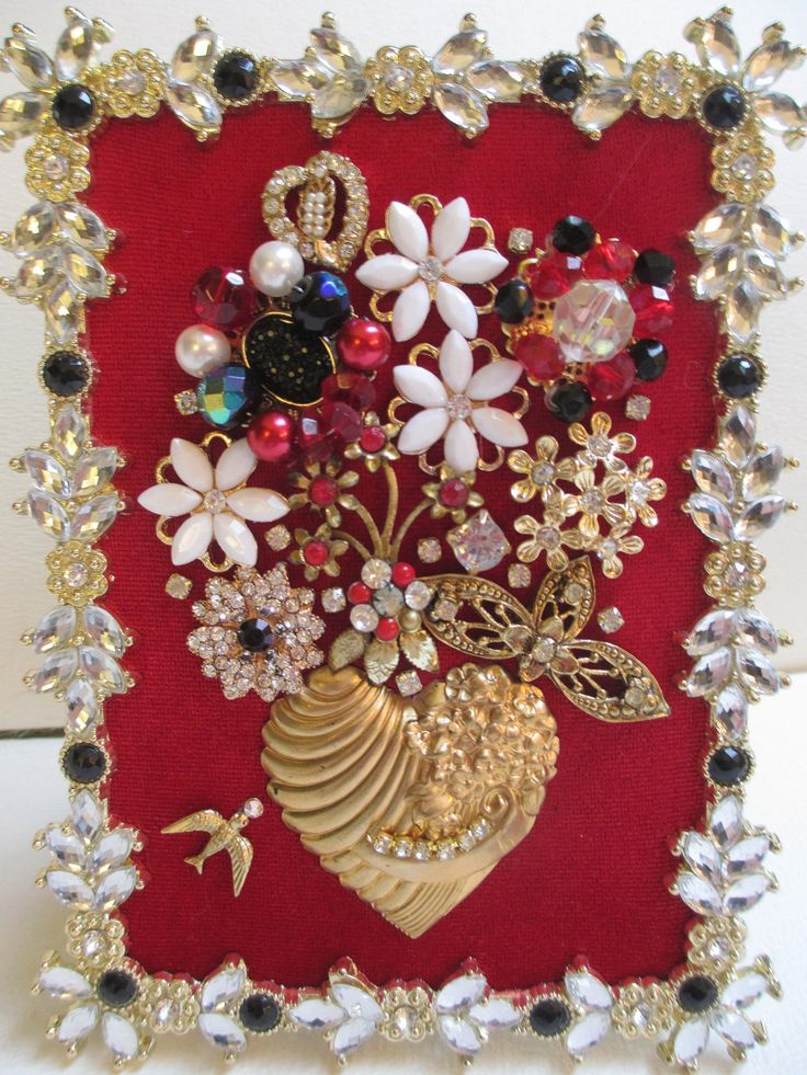 Jeweled Framed Jewelry Flower Bouquet Red Gold Hearts Valentine by audreymivey on Etsy