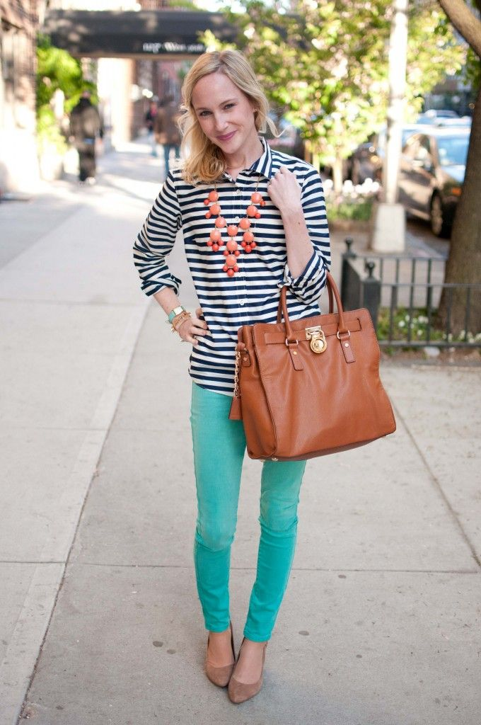 UWS Happy Hour Attire: Striped Shirts, Coral Bubble Necklaces and Teal Skinnies