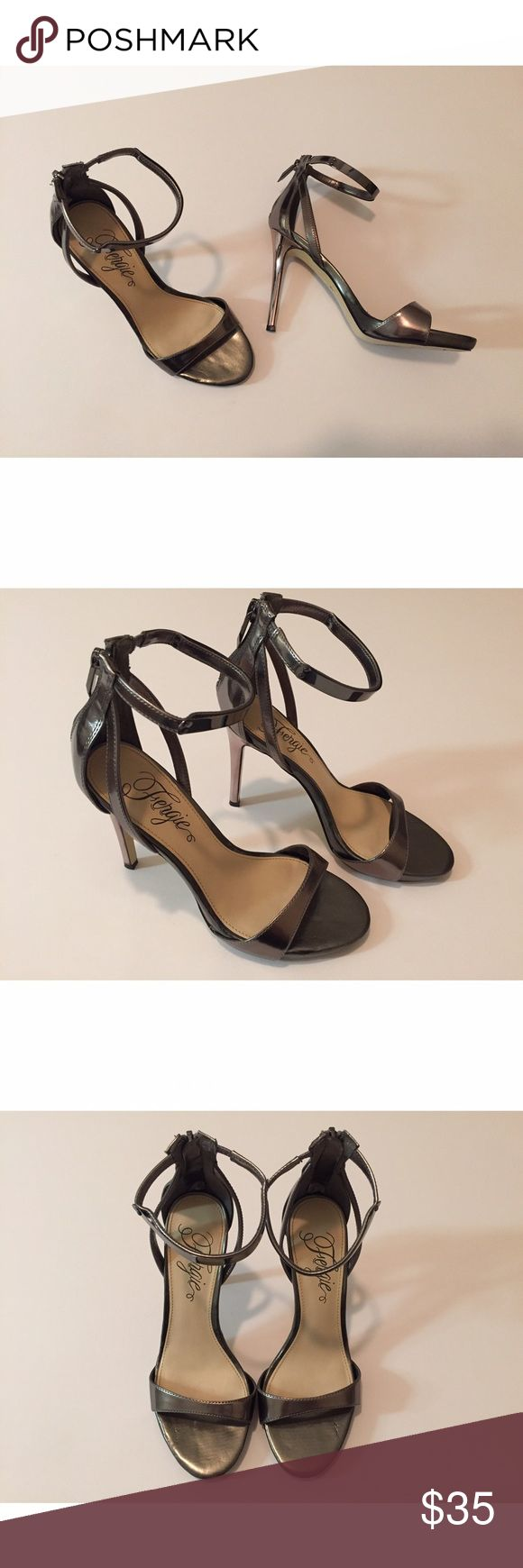 Fergie Silver/Pewter Simple Sandal Heels *Only worn once - in great condition* Fergie Shoes Heels