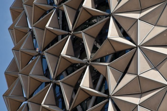 """""""At night they will all fold, so they will all close, so you'll see more of the facade,"""" Aedas director Peter Oborn told The National. """"It's using an old technique in a modern way, which also responds to the aspiration of the emirate to take a leadership role in the area of sustainability."""""""
