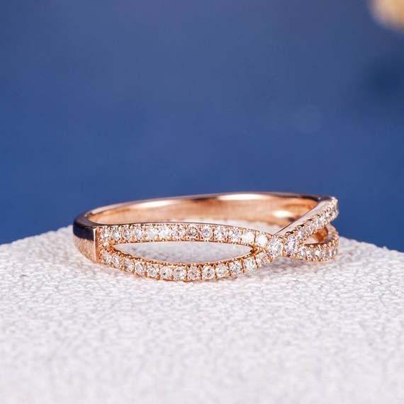 18k Rose Gold Wedding Band Diamond Ring Women Infinity X Shaped Bow Un Dupuy Rose Gold Wedding Band Diamond Diamond Wedding Bands 18k Rose Gold Wedding Band