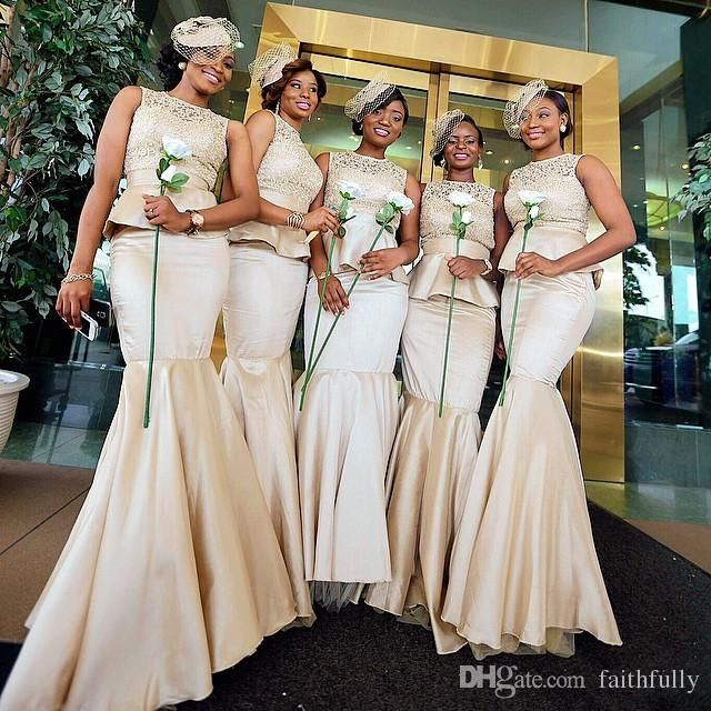 Champagne Lace Peplum Bridesmaid Dresses Mermaid Jewel Neckline Floor Length Satin Prom Dress For Wedding Formal Gowns Online with $104.86/Piece on Faithfully's Store   DHgate.com
