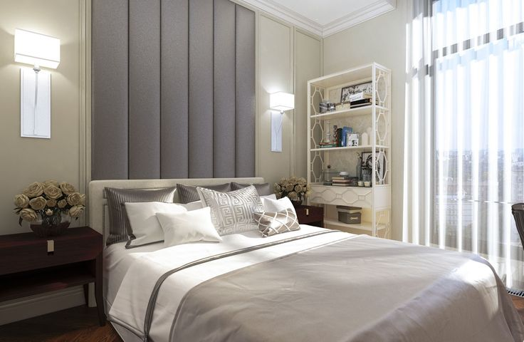 Дизайн апартаментов ЖК Balchug Residence. Спальня для гостей 2. Вид 2 #аркси #arxy #дизайнинтерьера #элитныйинтерьер #дизайнквартиры #спальня #дизайнспальни