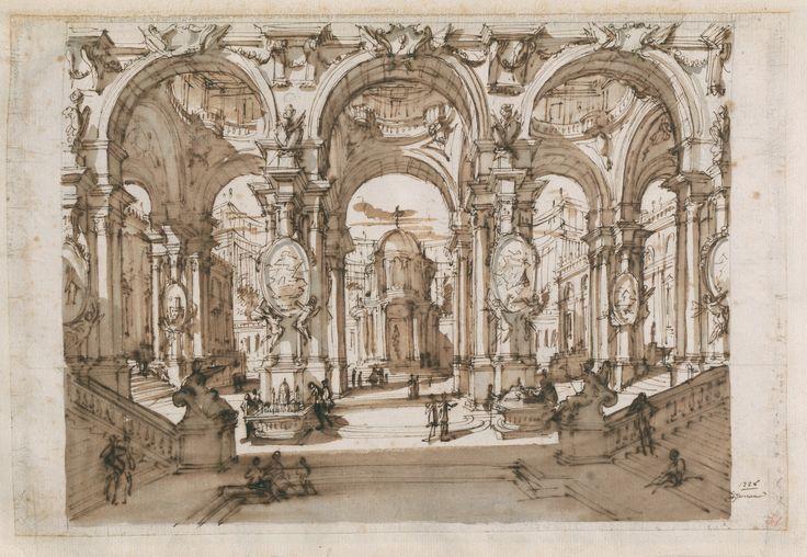 Fantasia architettonica con modelli di edifici e piante di città, 1728