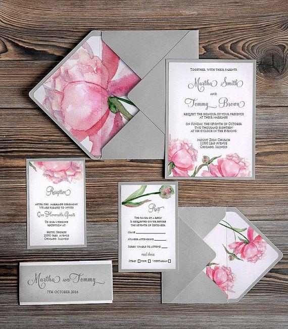 Watercolor painting Invitation Pink Peony Grey by forlovepolkadots