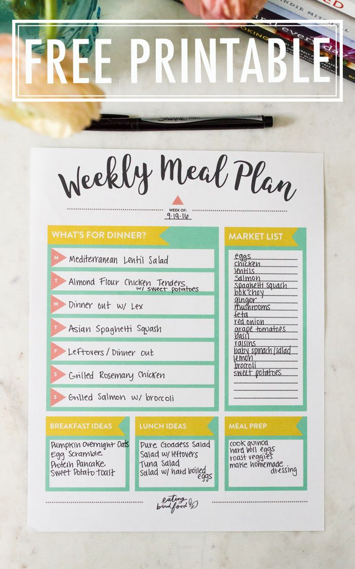 Eating healthy starts with cooking more at home. Here are my top tips for meal planning and a FREE Meal Planning Printable to help making meal planning easy and fun!