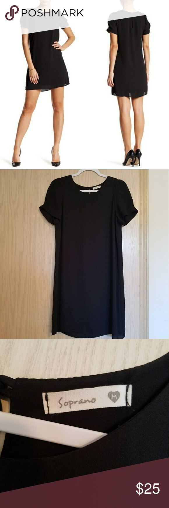 "Soprano little black dress - Crew neck - Short sleeves - Back keyhole detail - Button closure - Fully lined - Approx. 35"" length - Made in USA  - 100% polyester Worn once or twice, perfect dress for any sort of occasion! Soprano Dresses"