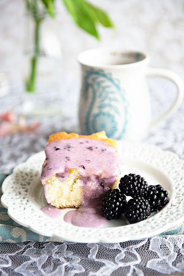 The Best Coffee Cake Recipe with Blackberry Glaze ~ A decadent breakfast of coffee cake with blackberry glaze makes any day a special occasion.  It could even be used as a fresh tasting dessert! Recipe on dineanddish.net