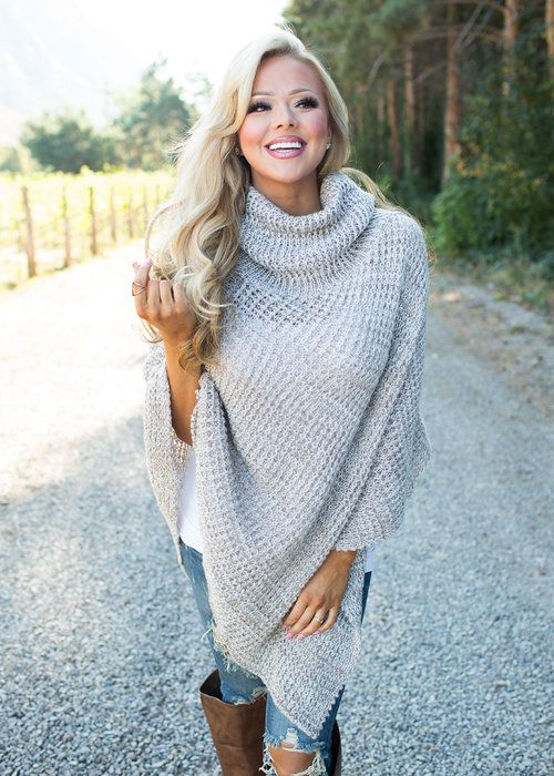 Boutique, Online Boutique, Women's Boutique, Modern Vintage Boutique, Poncho, Mocha Poncho, Knitted Poncho, High neck Poncho, Cowl Neck Poncho, cute, Fashion