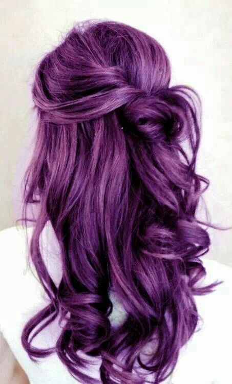 Curly Long Wavy Purple Hairstyle