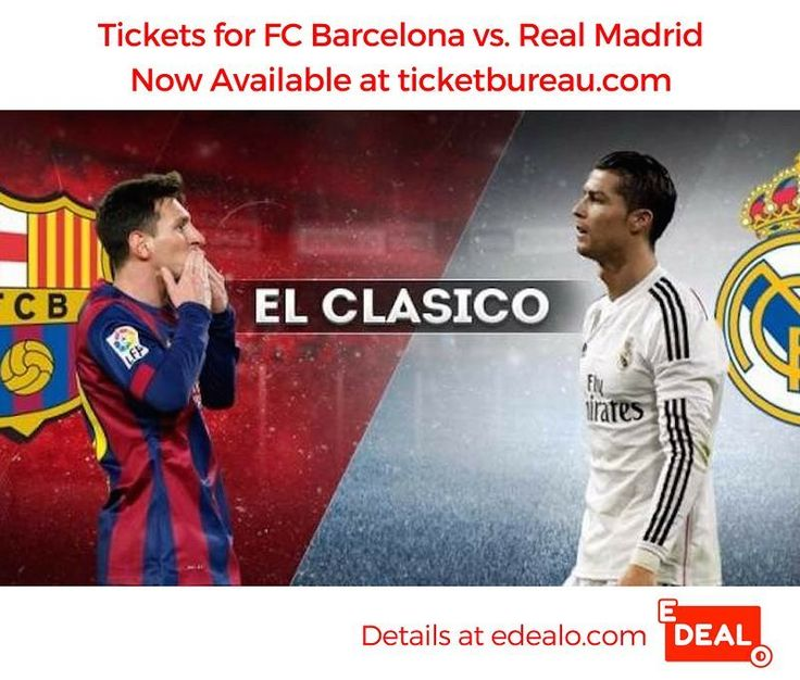 Tickets for El Clasico - FC Barcelona vs. Real Madrid - NOW AVAILABLE via Ticket Bureau! Visit edealo.com for more details.  #elclasico #realmadrid #messi #elclaśico #barcelona #élclasico #halamadrid #neymar #ronaldo #suarez #soccer #football #fcbarcelona #barca #laliga #cristianoronaldo #spain #pique #forçabarça #cr7 #championsleague #uefa #rmfans #leomessi #forcabarca #cristiano #sergioramos #raul #neymarjr