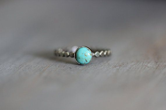 Kingman Turquoise Ring with 6mm gemstone, sterling silver bezel all with a gently hammered sterling silver band.  Custom made in your size.