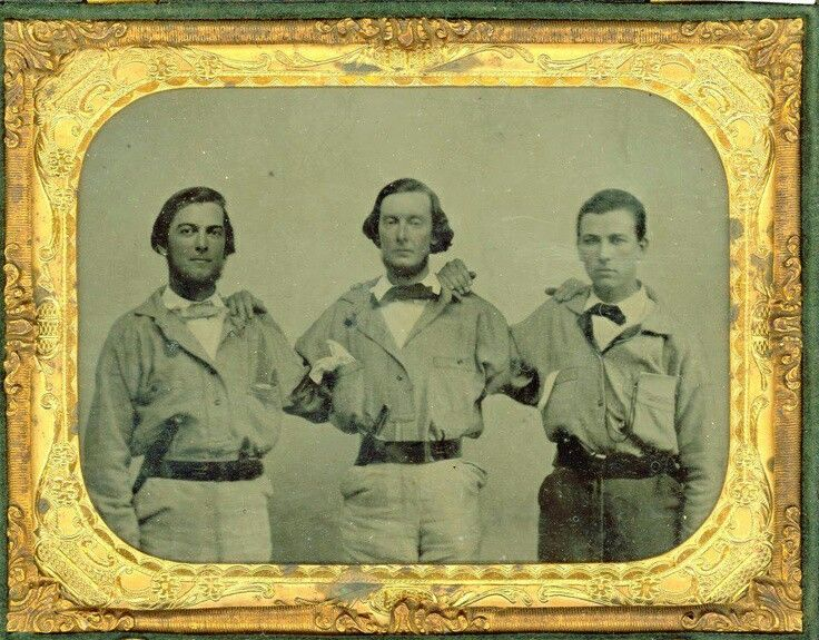 "Three of the six Fontenot brothers (left to right) Hypolite, Denis and Horthere of the ""Opelousas Guards,"" Company F., 8th Louisiana Infantry.  Hypolite O. Fontenot, Company F, 8th LA Infantry, enlisted March 30th, 1862 Opelousas, LA, residence Ville Platte, LA POW captured Rappahannock, VA,November 7th, 1863, exchanged March 10th, 1864, mortally wounded July 9th, 1864 and left in the enemy's hands, died August 5th from pneumonia (wounded at Frederick, MD)."