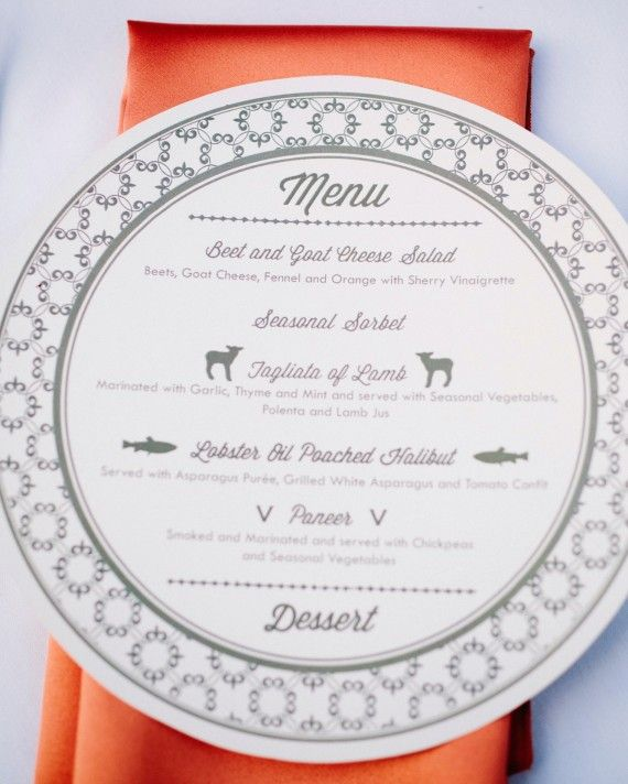 This circular menu card features cheeky illustrations of each course's main ingredient.