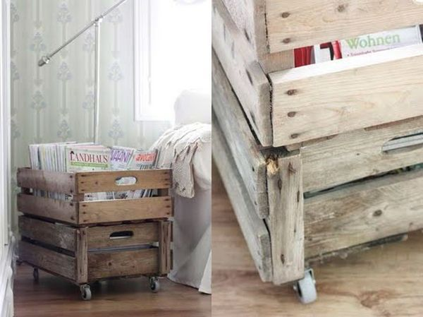 20 DIY Magazine Rack Projects, crate rolly magazine holder
