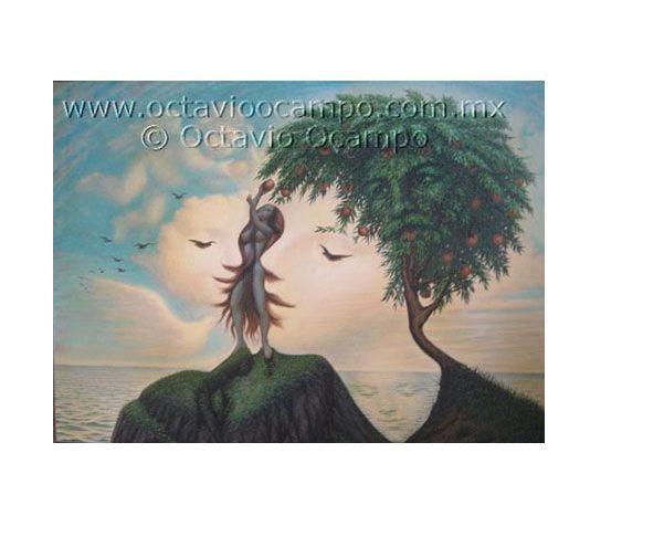 Kunstenaar: Octavio Ocampo | Stroming: Surrealisme. | Deze foto zag ik een keer op facebook, daarna vond ik het op pinterest. Ik vind het een mooi kunstwerk omdat je telkens meer gezichten ziet, naar mate je langer kijkt. Het geeft een kalmerende sfeer omdat het bij het strand/oceaan is, ook omdat zij allemaal 'vredig' uitzien. Er zijn overal wel gezichten te vinden, maar dit bevat toch een driehoekscompositie omdat het meeste aandacht gevestigd is in de boom en de jongen.