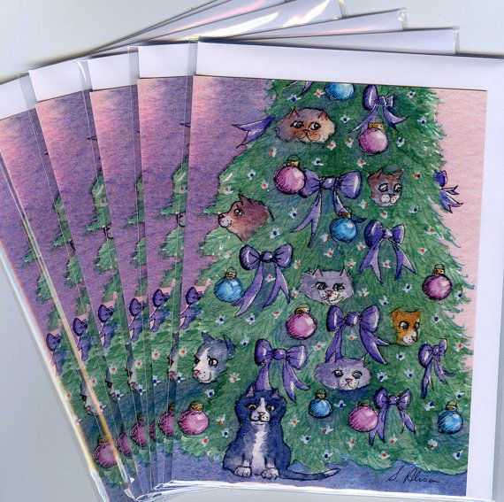 'They provided the sparkle' - 6 x cat Christmas holiday cards season's greetings xmas