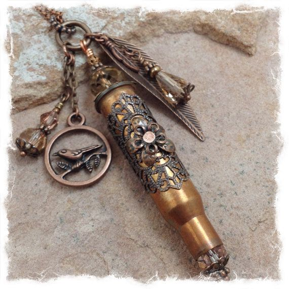 Birds of a Feather-Shell Casing Bullet Jewelry Copper Bullet $48.00 by ObtainiumDesigns *Use Coupon Code PIN10 to save 10% today!